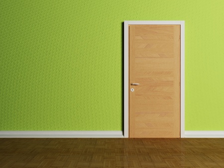 Door in the empty room, rendering photo