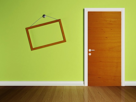 front gate: Door in the empty room and a frame on the wall