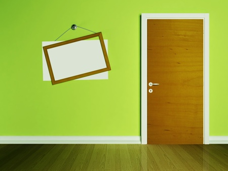 Door in the empty room and a frame on the wall Stock Photo - 13551485