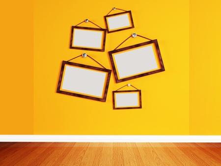 randomly: wooden frames, randomly located on the wall