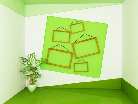 many wooden frames on the wall and a plant photo