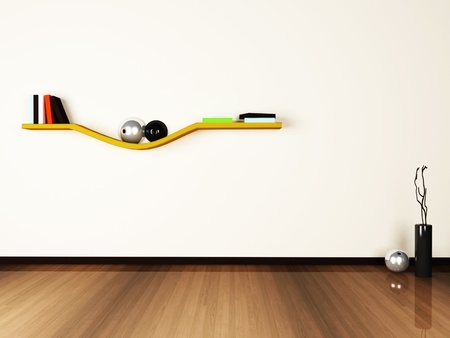 creative shelf on the white wall.3d rendered. Stock Photo - 13550820