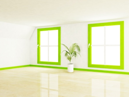 empty room with two big windows and a plant, rendering Stock Photo - 13551034