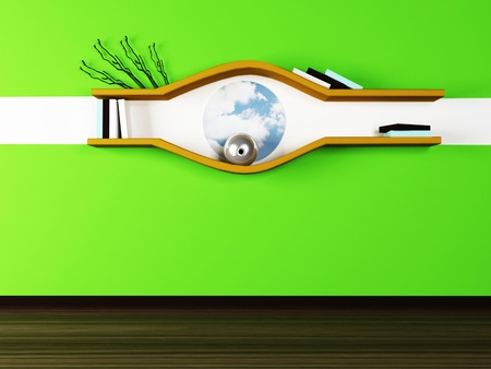 creative shelf on the green wall.3d rendered. photo