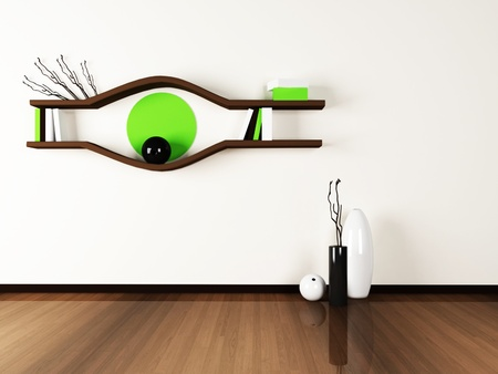 creative shelf on the wall.3d rendered. photo