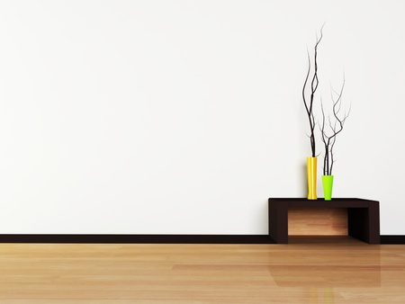 architectural feature: Interior design scene with a vases