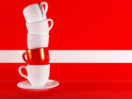 Beautiful cup on red background photo