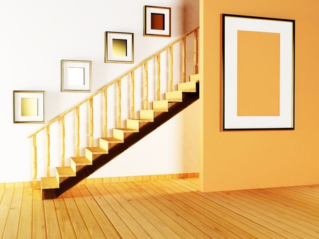 balustrade: staircase and paintings in the room Stock Photo