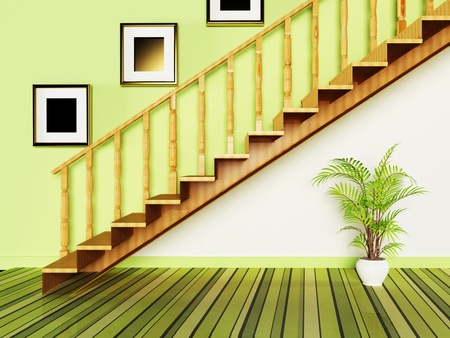 Interior design scene with a plant and a door Stock Photo - 13551525