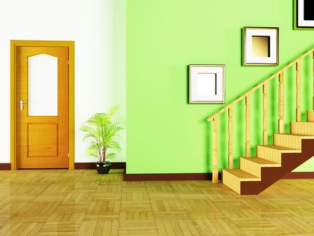 Interior design scene with a plant and a door photo