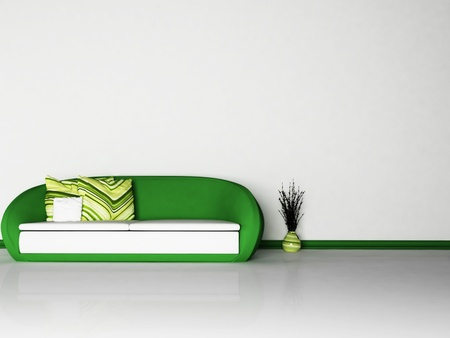 vase plaster: A sofa and a vase in the interior Stock Photo