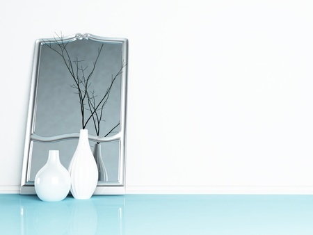 mirror on wall: two beautiful vases and a mirror in the interior Stock Photo