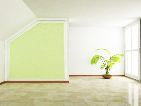 big windows: tree in an empty room