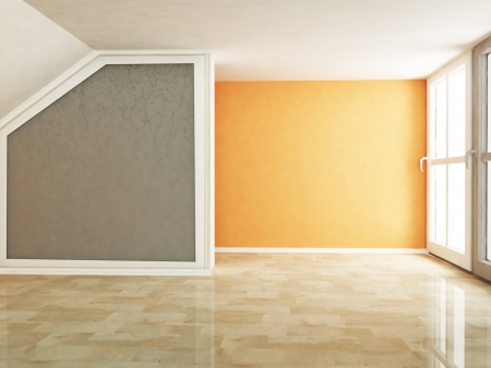 room wallpaper: empty room in warm colors Stock Photo