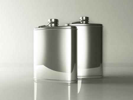 vodka bottle: two tin flasks, rendering