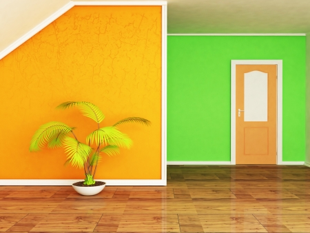 Interior design scene with the plant and the door photo