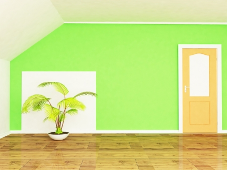 Interior design scene with the plant and the door Stock Photo - 13821672