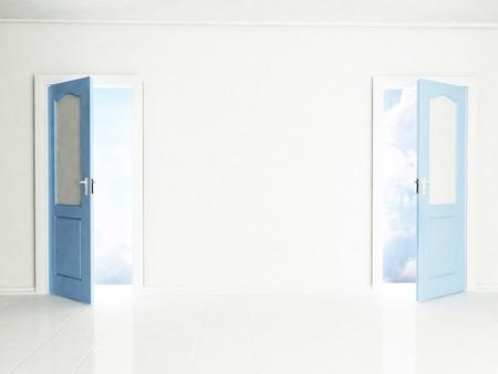 open doors: Two open doors in the interior, rendering Stock Photo