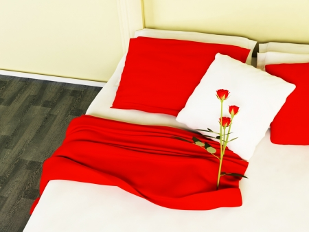 red pillows: Beautiful red roses on the bed