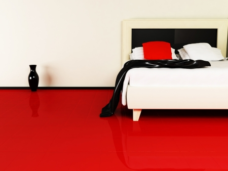 top: luxurious bed in the interior, rendering Stock Photo