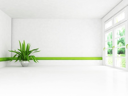 Interior design scene with the plant and the window photo