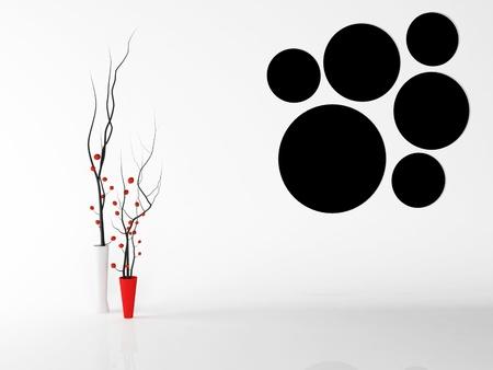 arboles blanco y negro: Dos floreros agradables en el interior, prestación