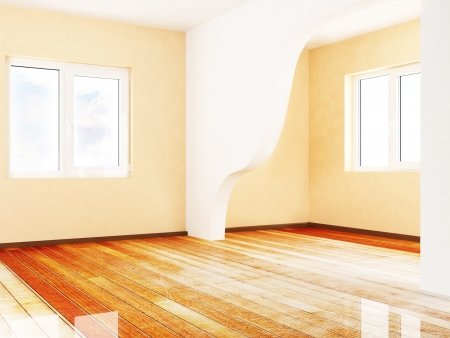 empty room with two windows, rendering photo