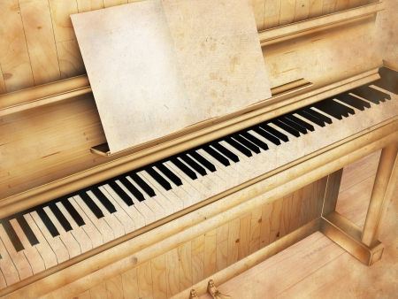antique piano, rendering Stock Photo - 13821750