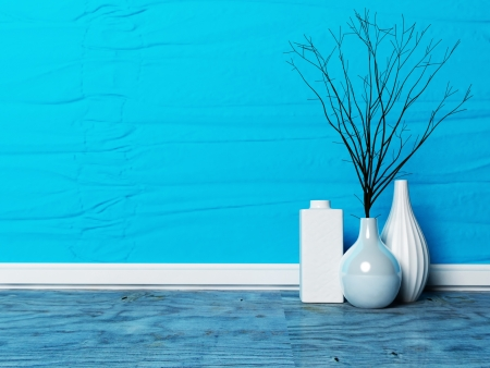 three beautiful vases with the  branches in the interior Stock Photo - 13821687