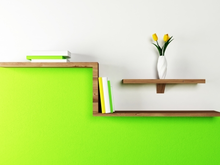 Interior design scene with a shelf on the wall Stock Photo - 13821970