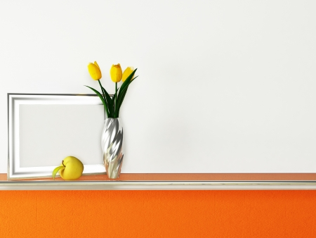 Interior design scene with a shelf and a vase, a picture Stock Photo - 13821957