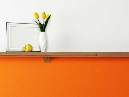 Interior design scene with a shelf and a vase, a picture photo