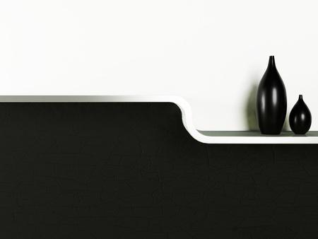 creative shelf with the vases photo