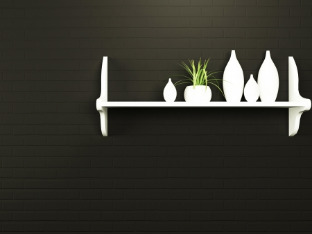 a nice shelf with the vases on the wall photo