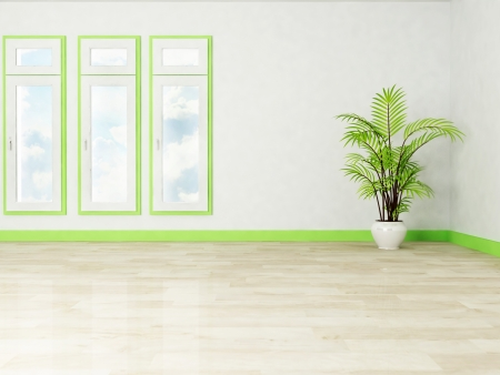 three windows and a plant in the room, rendering photo