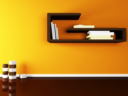 creative shelf on the wall and the vases on the floor Stock Photo - 13821857