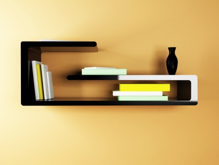 creative shelf on the wall with the books photo