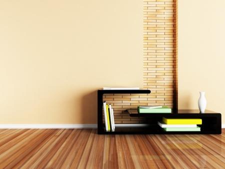 shelve: Interior design shene with a creative table Stock Photo