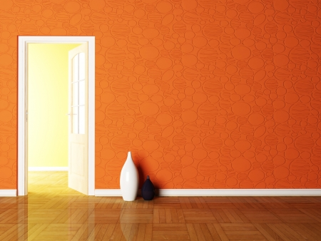 living room wall: Open door and the vases in the empy room rendering Stock Photo