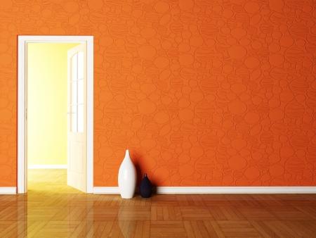 way of living: Open door and the vases in the empy room rendering Stock Photo