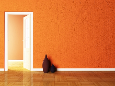 visualization: Open door and the vases in the empy room rendering Stock Photo