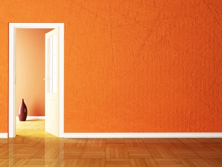 Open door and the vases in the empy room rendering photo