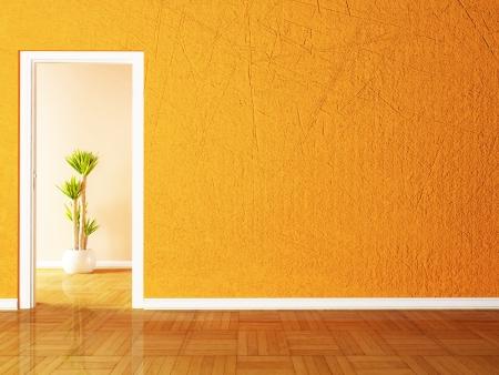 Open door and the plant in the empy room rendering photo