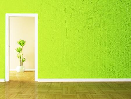 Open door and the plant in the empy room rendering