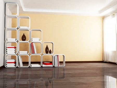 Interior design scene with a creative screen withe the books, a window