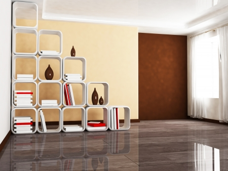 Interior design scene with a creative screen with the books, a window photo