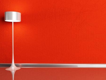 floor lamp in the red room, rendering photo