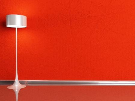 floor lamp in the red room, rendering