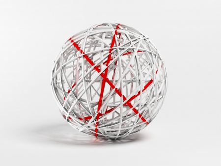 decorative white and red ball, 3d rendering Stock Photo - 14181668