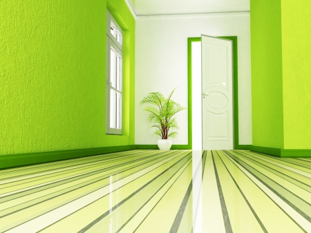 Interior design scene in green and white colors photo
